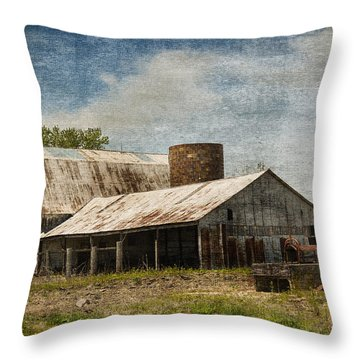 Barn -vintage Barn With Brick Silo - Luther Fine Art Throw Pillow by Luther Fine Art