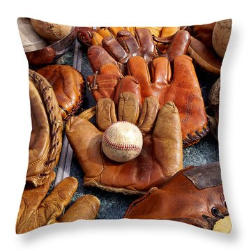 Vintage Baseball Throw Pillow by Art Block Collections