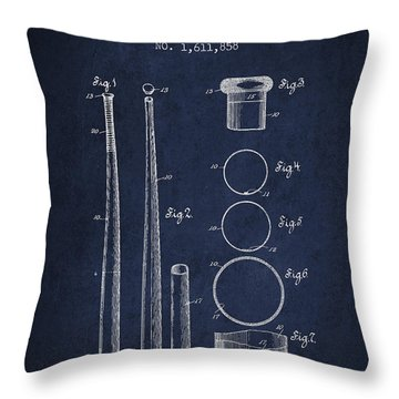Vintage Baseball Bat Patent From 1926 Throw Pillow by Aged Pixel