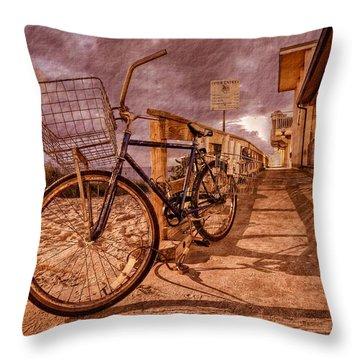 Vintage Beach Bike Throw Pillow by Debra and Dave Vanderlaan