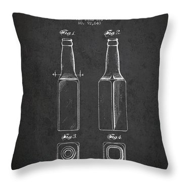 Vintage Beer Bottle Patent Drawing From 1934 - Dark Throw Pillow