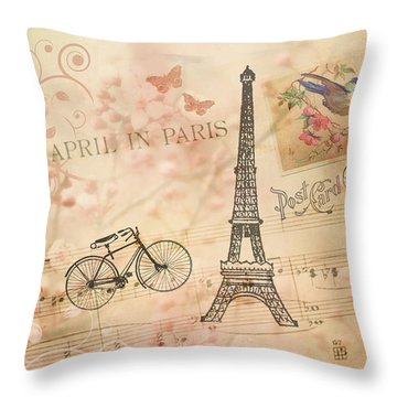 Vintage Bicycle And Eiffel Tower Throw Pillow by Peggy Collins