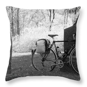 Vintage Bicycle In Graveyard Throw Pillow by Joyce  Wasser