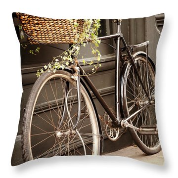 Flowers Bike Throw Pillows