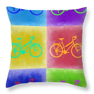 Vintage Bicycle Pop Art 2 Throw Pillow by Naxart Studio