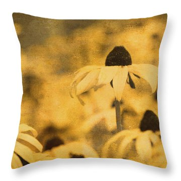Throw Pillow featuring the photograph Vintage Black-eyed Susans by Peggy Collins