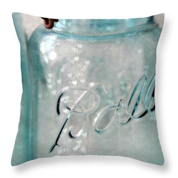Vintage Blue Aqua Ball Jars - Mason Jars Ball Jars Photography - Shabby Chic Ball Jar With Hearts Throw Pillow