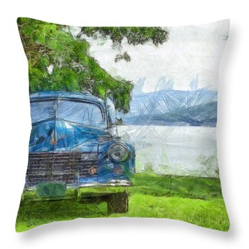Vintage Blue Caddy At Lake George New York Throw Pillow by Edward Fielding