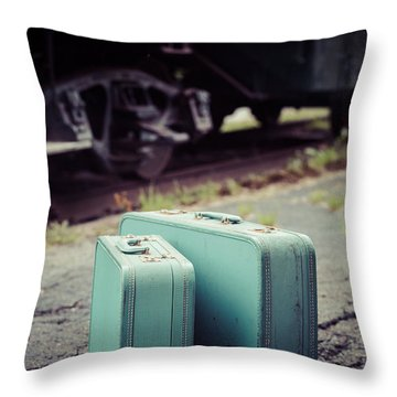 Vintage Blue Suitcases With Red Caboose Throw Pillow