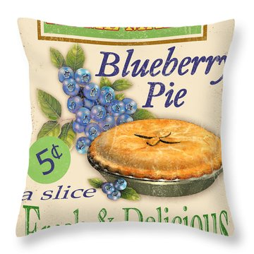 Vintage Blueberry Pie Sign Throw Pillow by Jean Plout