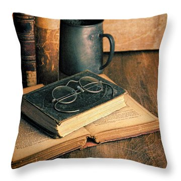 Vintage Books And Eyeglasses Throw Pillow by Jill Battaglia