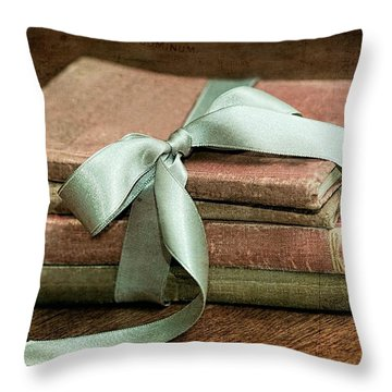Vintage Books Tied With Mint Ribbon Throw Pillow