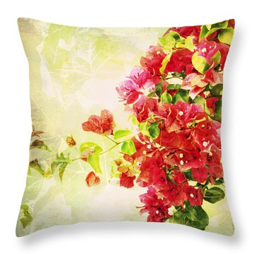 Vintage Bougainvillea San Diego California Throw Pillow