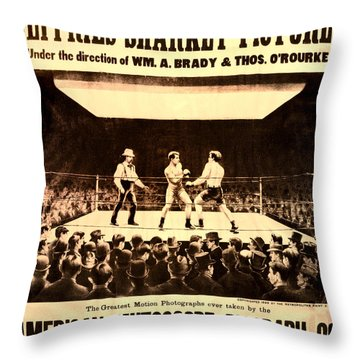 Vintage Boxing Movie Poster Throw Pillow by Bill Cannon