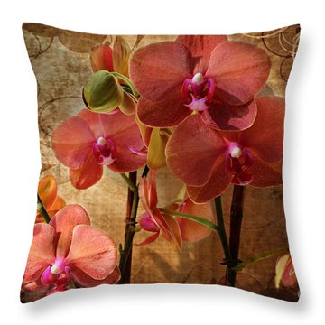 Vintage Burnt Orange Orchids Throw Pillow by Judy Palkimas