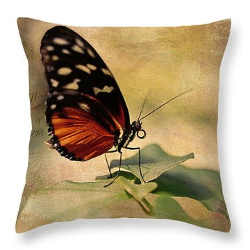 Vintage Butterfly Card Throw Pillow