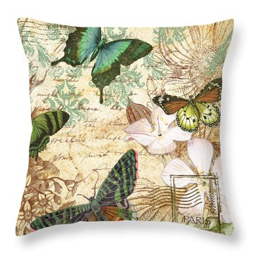 Vintage Butterfly Kisses  Throw Pillow by Jean Plout