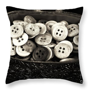 Vintage Button Treasure Throw Pillow by John Rizzuto