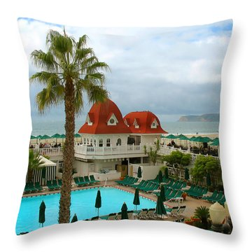 Throw Pillow featuring the photograph Vintage Cabana At The Del by Connie Fox