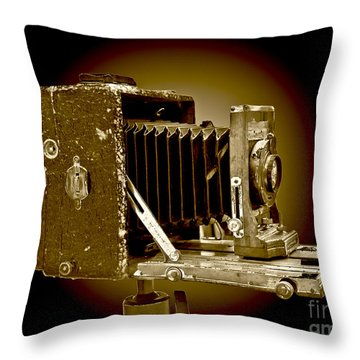 Vintage Camera In Sepia Tones Throw Pillow by Carol F Austin