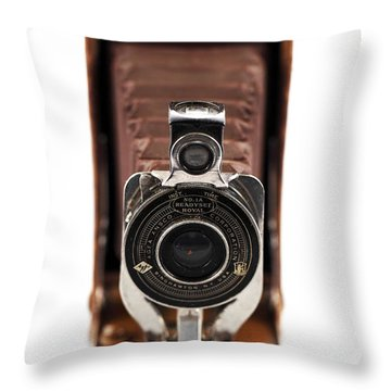 Vintage Camera Throw Pillow by John Rizzuto