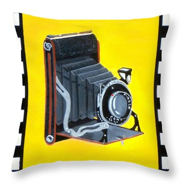 Vintage Camera Throw Pillow by Karyn Robinson