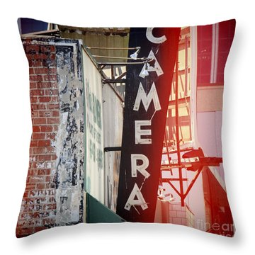 Vintage Camera Sign Throw Pillow by Nina Prommer