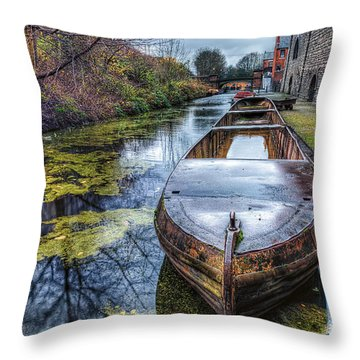 Vintage Canal Boat Throw Pillow by Adrian Evans