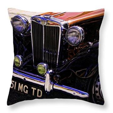 Vintage Car Art 51 Mg Td Copper Throw Pillow