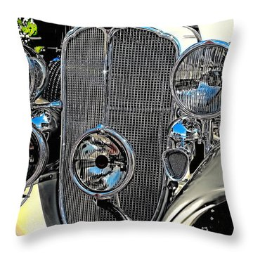 Vintage Car Art Buick Grill And Headlight Hdr Throw Pillow