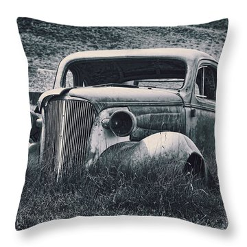 Vintage Car At Bodie Throw Pillow by Kelley King