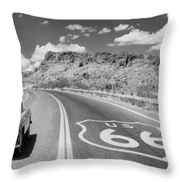 Vintage Car Moving On The Road, Route Throw Pillow