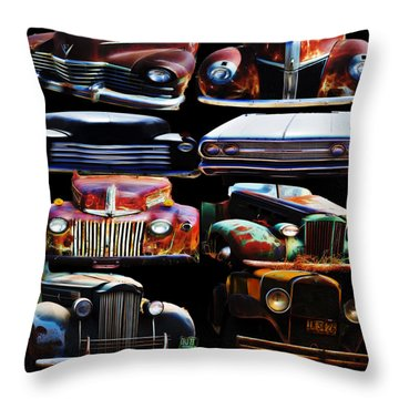 Vintage Cars Collage 2 Throw Pillow by Cathy Anderson