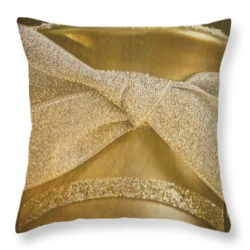 Vintage Champagne Ornament Throw Pillow by Birgit Tyrrell
