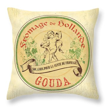 Vintage Cheese Label 2 Throw Pillow