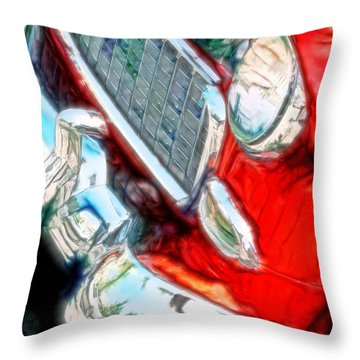 Vintage Chevy Art Alley Cat 3 Red Throw Pillow