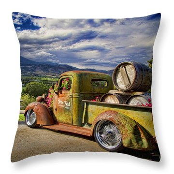 Vintage Chevy Truck At Oliver Twist Winery Throw Pillow by David Smith