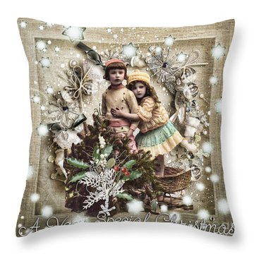 Vintage Christmas Throw Pillow by Mo T