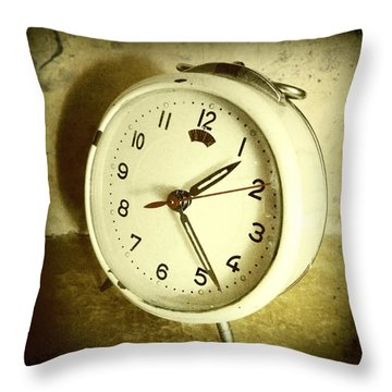 Vintage Clock Throw Pillow by Les Cunliffe