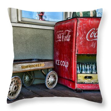 Vintage Coca-cola And Rocket Wagon Throw Pillow by Paul Ward