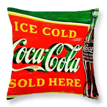 Vintage Coca-cola Sign Throw Pillow by Karl Wagner