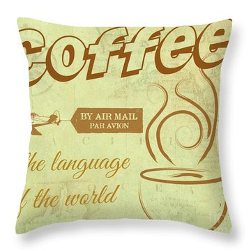 Vintage Coffee With Map Throw Pillow by Mindy Bench