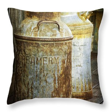 Vintage Creamery Cans In 1880 Town In South Dakota Throw Pillow