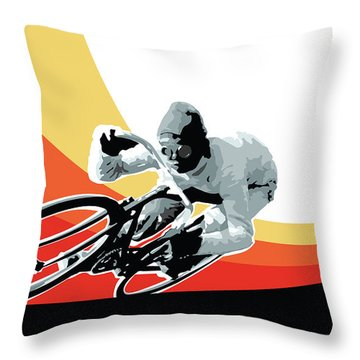 Vintage Cyclist With Colored Swoosh Poster Print Speed Demon Throw Pillow