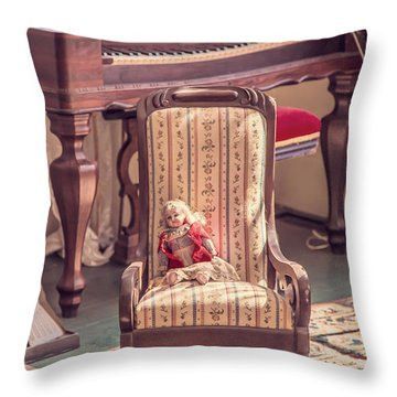 Vintage Doll In Parlor Throw Pillow by Edward Fielding