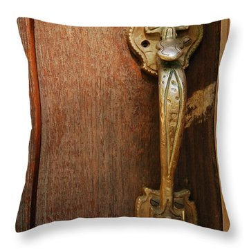 Throw Pillow featuring the photograph Vintage Door Handle by Patrick Shupert
