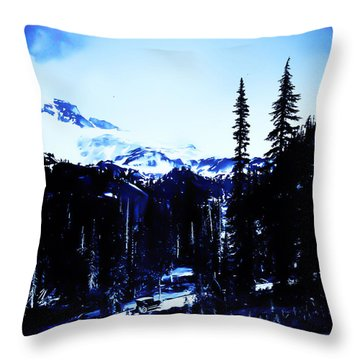 Throw Pillow featuring the photograph Vintage... Driving Up To Mount Rainier Early 1900 Era... by Eddie Eastwood