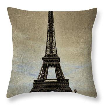 Vintage Eiffel Bronze Throw Pillow