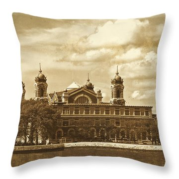 Throw Pillow featuring the photograph Vintage Ellis Island by Eleanor Abramson