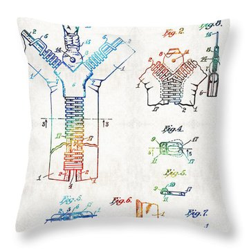 Vintage Fashion Art - Zipper Patent - By Sharon Cummings Throw Pillow